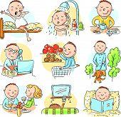Cartoon man daily activities