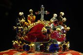 PRAGUE, CZECH REPUBLIC - MAY 10, 2013: Crown of Saint Wenceslas displayed at the exhibition of the Bohemian Crown Jewels in Prague, Czech Republic.