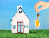 Key in hand and house model, Real estate concept