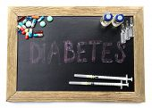 Blackboard medicines and word Diabetes isolated on white background