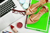 Fashion blogger concept. Still life of fashion creative space