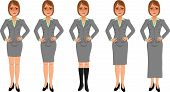 Brown-haired business woman grey skirt suit hands on hips