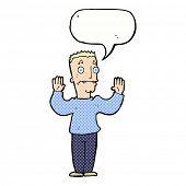 cartoon man surrendering with speech bubble