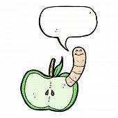 cartoon apple with worm with speech bubble