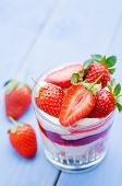 Layered Dessert With Strawberries, Biscuit Cake And Cream Cheese
