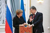 Angela Merkel And Petro Poroshenko