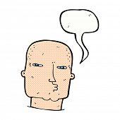 cartoon bald tough guy with speech bubble