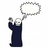stock photo of ghoul  - cartoon waving halloween ghoul with speech bubble - JPG