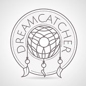 stock photo of dream-catcher  - Gray vintage style line vector illustration of dream catcher round badge with word Dreamcatcher on gray background - JPG