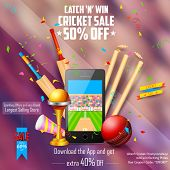 picture of cricket ball  - illustration of sale and promotion banner for cricket season - JPG