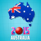 illustration of 2015 Cricket with Australia map and flag