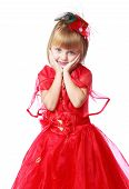 very fashionable little girl in a long bright red dress.