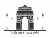 An illustration of India Gate in New Delhi, India