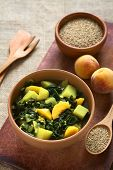 Spinach, Potato and Peach Curry