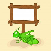 Funny grasshopper with blank wooden board for your massage over beige background.