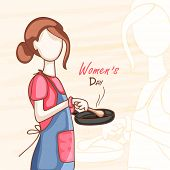 International Women's Day celebration concept with young lady preparing food.