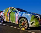 Street Art Work;  Feb, 4th,2015, Mr. Brainwash aka, famous artist Thierry Guetta, makes over a Mercedes-Benz GLA-Class at the Evolution Tour.