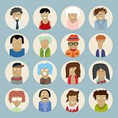 Set of people icons in flat style with faces. Vector illustration of men and women