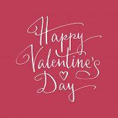 Happy Valentine's Day handlettering. Vector illustration
