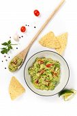 stock photo of dipping  - Guacamole dip on white background - JPG