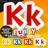 Vector font in shape of funny toys or cartoon elements. Letter K