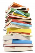 image of piles  - Very tall untidy stack or pile of colorful books isolated on a white background - JPG
