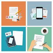 Set of flat design illustrations, top view - mobile app development & business concept
