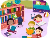 foto of time study  - Illustration of Kids Reading Their Choice of Books for Reading Time - JPG