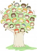 image of stickman  - Stickman Illustration of Kids Forming the Shape of a Tree - JPG
