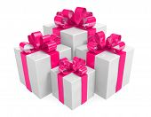White gift boxes group wrapped with pink ribbons for Valentines Day