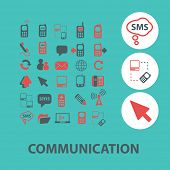 communication, connection, phone flat icons, signs, illustrations design concept vector set