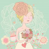 Beautiful bride with flowers in vector. Cute invitation card with blonde girl in wedding dress with peony flowers in pastel summer colors