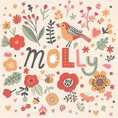 Bright card with beautiful name Molly in poppy flowers, bees and butterflies. Awesome female name design in bright colors. Tremendous vector background for fabulous designs