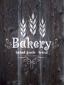 Wood vector texture with bakery label.