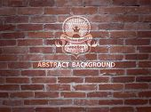 Vector brick background with label.