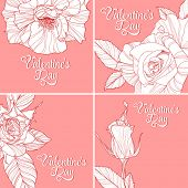 Set of valentines day greeting cards with handdrawn roses.