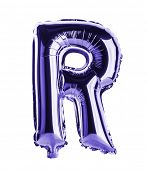Purple foil balloon letter part of full set in the shape of a capitol R