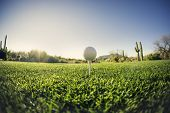Tee off - golf ball - extreme wide angle view from low vantage point.Fisheye lens effect.