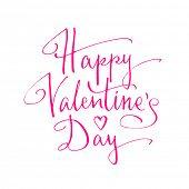 Happy Valentine's Day handwritten lettering. Vector illustration