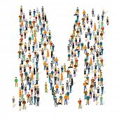 People crowd. Vector ABC, letter M