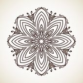 Round flower pattern, Circular ornament design element, Vector