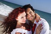 Closeup Young Couple Enjoying On The Beach