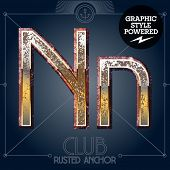 Vector font set of rusted letters. Old school vintage yacht club. Letter N