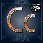 Vector font set of rusted letters. Old school vintage yacht club. Letter C