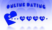 Concept Of Dating - Big Pacman Heart Hunting Small Hearts