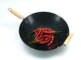 picture of stir fry  - A wok isolated against a white background - JPG