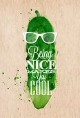 picture of cucumber  - Vintage poster design with cucumber - JPG