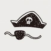 foto of pirate hat  - Pirate Hat And Mask Doodle - JPG
