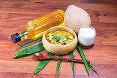 pic of thai cuisine  - Green pork Curry and Coconut - JPG