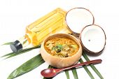 foto of thai cuisine  - Green pork Curry and Coconut and coconut milk - JPG